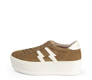 Ref. 3783 Sneaker serraje visón con dos rayos en piel blanca en el exterior y en el interior. Cordones al tono. Plataforma de 5.5 cm. - Ítem1