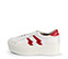 Ref. 3784 Sneaker de piel en blanco con dos rayos en piel roja en el exterior y en el interior. Cordones al tono. Plataforma de 5.5 cm. - Ítem3