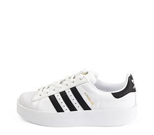 Ref. 3797 Adidas Superstar Bold piel blanca con simbolo en piel negro. Cordones blancos. Plataforma de 3 cm. - Ítem1