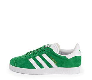 Ref. 3798 Adidas Gazelle serraje verde con detalles en piel blanco. Cordones blancos de repuesto.