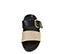 Ref: 3807 Sandalia plana de piel negra con doble tira en el empeine de color negro y oro, hebilla dorada y plantilla anatómica - Ítem2