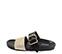 Ref: 3807 Sandalia plana de piel negra con doble tira en el empeine de color negro y oro, hebilla dorada y plantilla anatómica - Ítem3