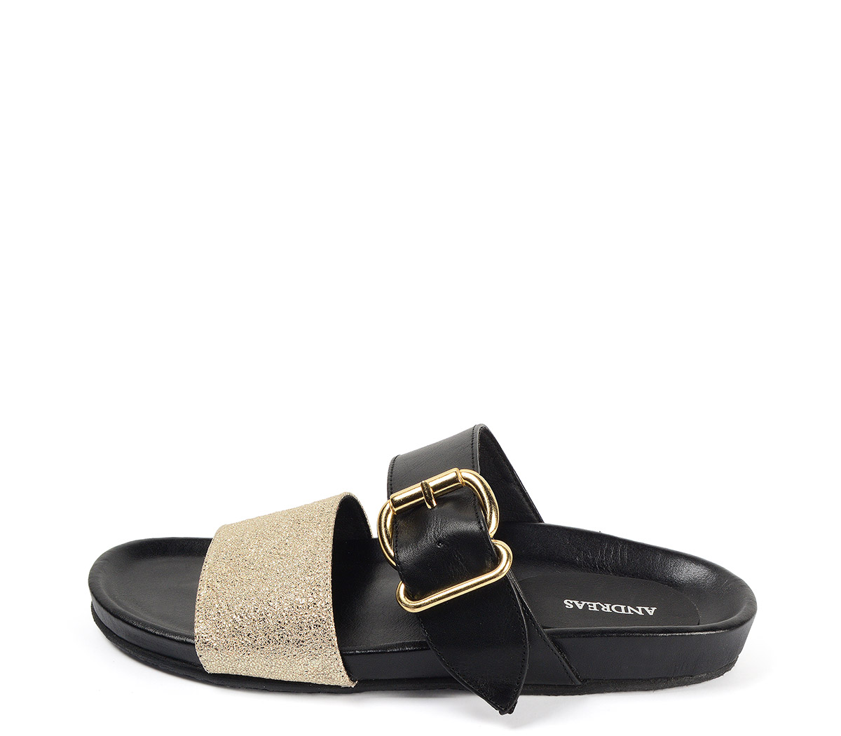 Ref: 3807 Sandalia plana de piel negra con doble tira en el empeine de color negro y oro, hebilla dorada y plantilla anatómica