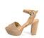 Ref: 3808 Sandalia ante beige con pala lisa y pulsera al tobillo con hebilla forrada al tono. Altura tacón 10.5 cm y plataforma delantera de 3.5 cm - Ítem3