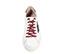 Ref. 3813 Sneaker piel blanco con detalle estrella lateral piel negra. Detalle trasero en serraje visón. Cordones color burdeos. Altura plataforma 3 cm. - Ítem2