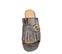 Ref. 3842 Sandalia piel plomo con detalle de dos arandelas doradas en la pala y flecos. Tacón de 6 cm y sin plataforma delantera. - Ítem2