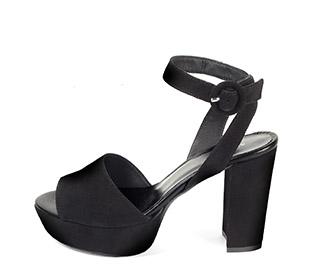 Ref: 3848 Sandalia ante negro con pala lisa y pulsera al tobillo con hebilla forrada al tono. Altura tacón 10.5 cm y plataforma delantera de 3.5 cm - Ítem1