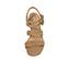 Ref. 3850 Sandalia ante beige con dos tiras en la pala. Detalle de dos tiras en el tobillo con hebilla cuadrada forrada al tono. Altura tacón 6 cm y sin plataforma delantera. - Ítem2