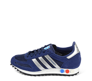 Ref: 3809 Adidas L.A Trainer serraje azul con detalles en piel plata. Botones tricolor en la suela. Cordones azules. - Ítem1