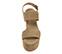 Ref. 3885 Sandalia serraje visón con dos tiras en el empeine y tira al tobillo con hebilla dorada. Altura tacón 10 cm y plataforma delantera 5 cm. - Ítem2
