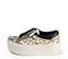 Ref. 3921 Sneaker piel grabado serpiente beige con cordones negros y cremallera lateral plateada. Plataforma blanca de 5.5 cm. Detalle trasero piel negra. - Ítem3