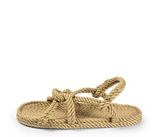 Ref. 4006 Sandalia beige de cuerdas. Tiras cruzadas y cogida al talón