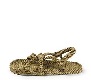 Ref. 4007 Sandalia kaki de cuerdas. Tiras cruzadas y cogida al talón