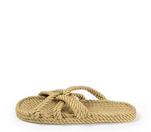 Ref. 4009 Sandalia beige de cuerdas. Tiras cruzadas.