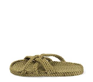 Ref. 4010 Sandalia kaki de cuerdas. Tiras cruzadas.
