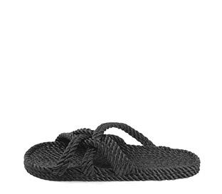 Ref. 4011 Sandalia negra de cuerdas. Tiras cruzadas.