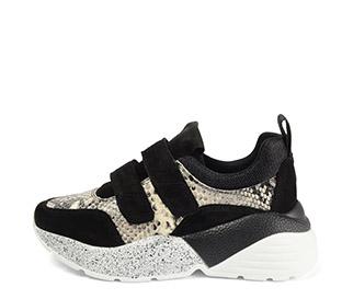 Ref. 4029 Sneaker piel grabado serpiente combinada con serraje negro. Dos velcros. Suela combinada en negro y blanco con altura trasera de 6 cm. - Ítem1