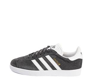 Ref. 4116 Adidas Gazelle serraje gris oscuro con simbolo piel blanca. Suela blanca.