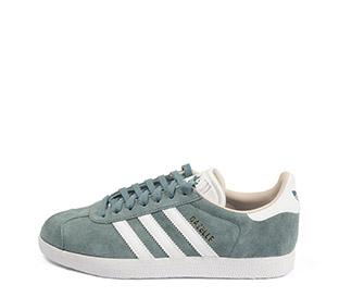 Ref. 4117 Adidas Gazelle W serraje verde agua. Simbolo piel blanca. Cordones al tono. Suela blanca.