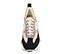 Ref. 4141 Sneaker serraje negro combinado con tela beige y piel rosa. Altura plataforma trasera 5 cm y plataforma delantera 3 cm. - Ítem2