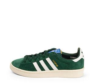 Ref. 4162 Adidas Campus serraje verde con detalle simbolo en piel blanca. Cordones verdes.