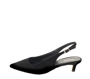 Ref. 4213 Zapato salón ante negro destalonado. Detalle hebilla lateral dorada. Puntera acabada en punta. Altura tacón 4.5 cm.