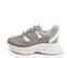Ref. 4217 Sneaker serraje taupe combinado con tela y piel blanca. Altura plataforma trasera 5 cm y plataforma delantera 3 cm. - Ítem3