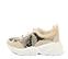 Ref. 4223 Sneaker serraje beige combinada con piel estampado serpiente. Cordones blancos. Altura tacón 6 cm y plataforma delantera 3 cm. - Ítem3