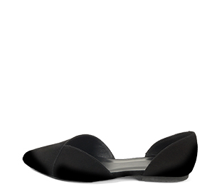 Ref. 4224 Zapato plano ante negro. Detalle cruzado en la parte delantera. Acabado en punta. Laterales descubiertos.