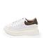 Ref. 4227 Sneaker piel blanca con detalle trasero en serraje piedra. Altura plataforma trasera 6 cm y plataforma delantera 4 cm. - Ítem3