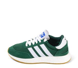 Ref. 4231 Adidas I-5923 serraje verde con detalles en blanco. Suela blanca.