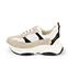 Ref. 4234 Sneaker serraje beige combinado con tela blanca y piel negra. Altura plataforma trasera 5 cm y plataforma delantera 3 cm. - Ítem3
