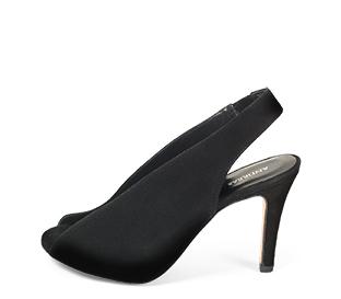 Ref. 4264 Sandalia ante negro con pala escotada en forma de V. Altura tacón 10 cm y sin plataforma delantera. Tira del talón con elástico.