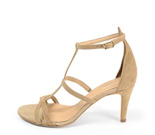 Ref. 4276 Sandalia ante beige con tiras en la pala y pulsera al tobillo. Hebilla dorada. Altura tacón 8 cm y sin plataforma delantera.