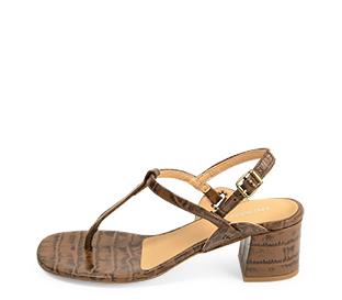 Ref. 4278 Sandalia piel marrón con grabado coco. Altura tacón 6 cm y sin plataforma delantera. Hebilla lateral oro viejo.