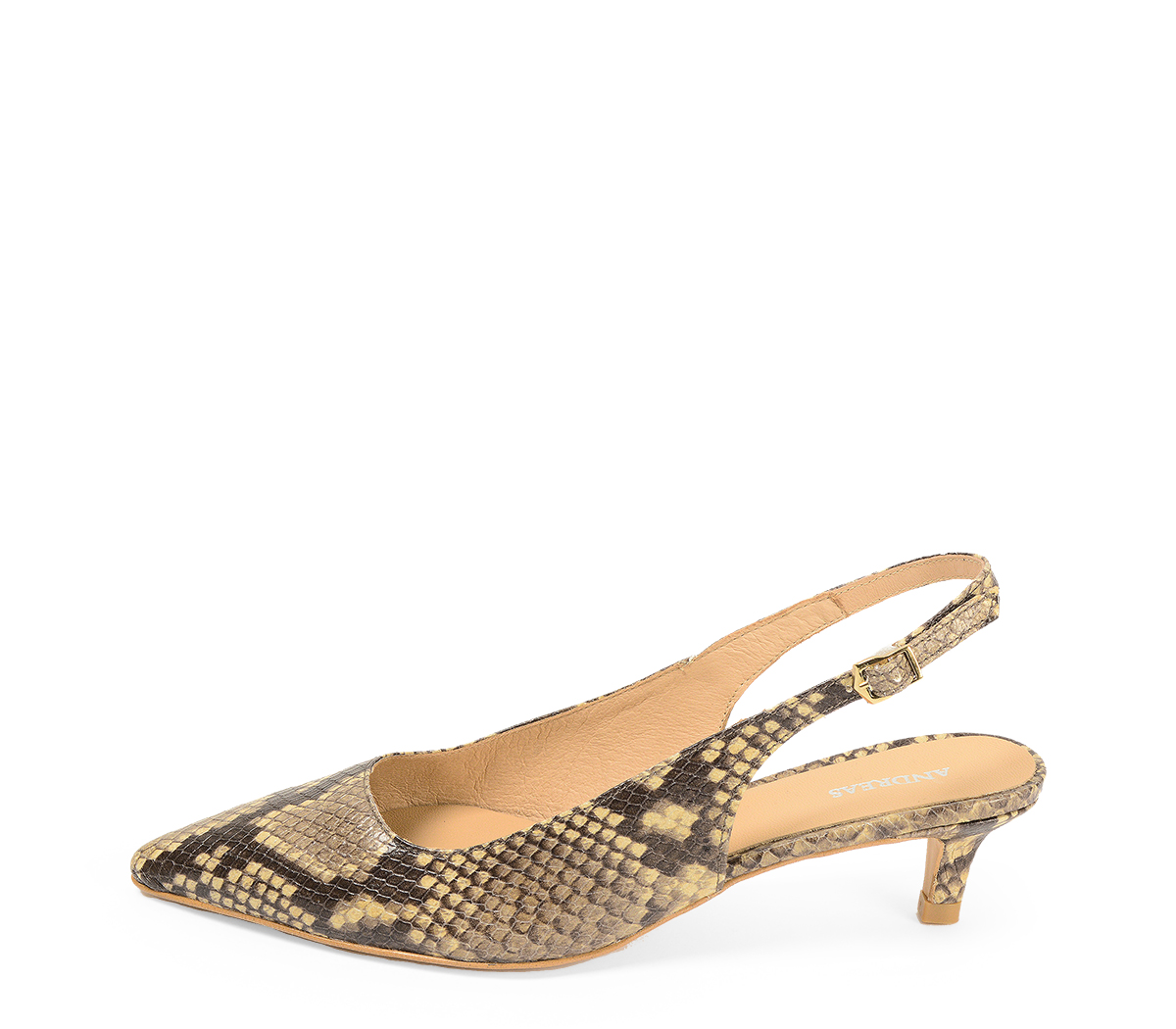 Ref. 4315 Zapato salón piel beige con grabado serpiente. Detalle hebilla lateral dorada. Puntera acabada en punta. Altura tacón 4.5 cm.