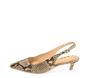 Ref. 4315 Zapato salón piel beige con grabado serpiente. Detalle hebilla lateral dorada. Puntera acabada en punta. Altura tacón 4.5 cm. - Ítem1