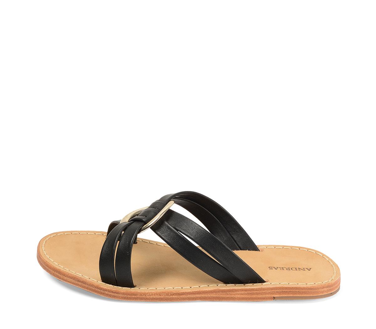 Ref. 4359 Sandalia piel negra con pala cruzada y detalle arandela dorada. Suela de piel.