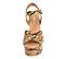 Ref. 4376 Sandalia con grabado serpiente marrón y beige. Pala cruzada y pulsera al tobillo con hebilla plateada. Altura tacón 11 cm y plataforma delantera 5 cm. - Ítem2