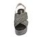 Ref. 4387 Sandalia piel trenzada color gris con pala cruzada y tira trasera con hebilla plateada. Plataforma forrada rafia. Altura trasera 6.5 cm y plataforma delantera 5 cm. - Ítem2