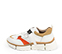 Ref. 4392 Sneaker piel blanca con detalles serraje beige y rojo. Suela blanca en bloques. Altura trasera 4.5 cm y delantera de 2.5 cm. - Ítem3