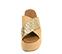 Ref. 4423 Sandalia con pala cruzada combinada en saco beige y trenzado oro. Plataforma de saco. Altura plataforma trasera 6.5 cm y plataforma delantera 5 cm. - Ítem2