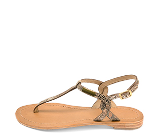 Ref. 4426 Sandalia piel con grabado serpiente en bronce. Tira y pulsera al talón con hebilla dorada. Plantilla de piel.