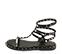 Ref. 4429 Sandalia piel negra estilo romana con detalle piramides plateadas. Tiras con 3 hebillas al tobillo. - Ítem3
