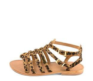 Ref. 4438 Sandalia potro leopardo con tiras tipo romana y tiras al tobillo con hebilla dorada. Plantilla de piel. - Ítem1