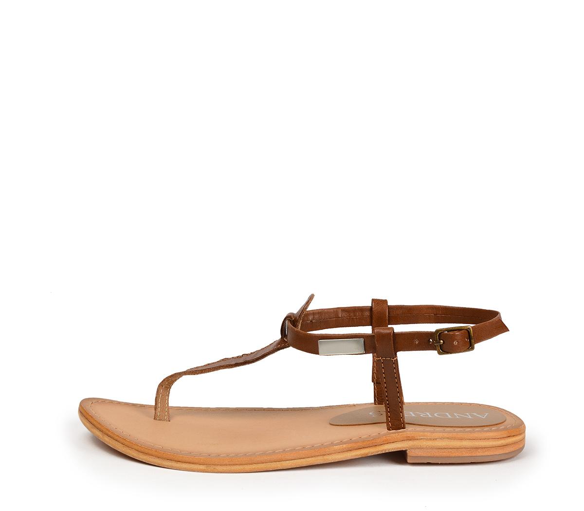 Ref. 4440 Sandalia piel cuero con tira y pulsera al talón con hebilla dorada. Plantilla de piel.