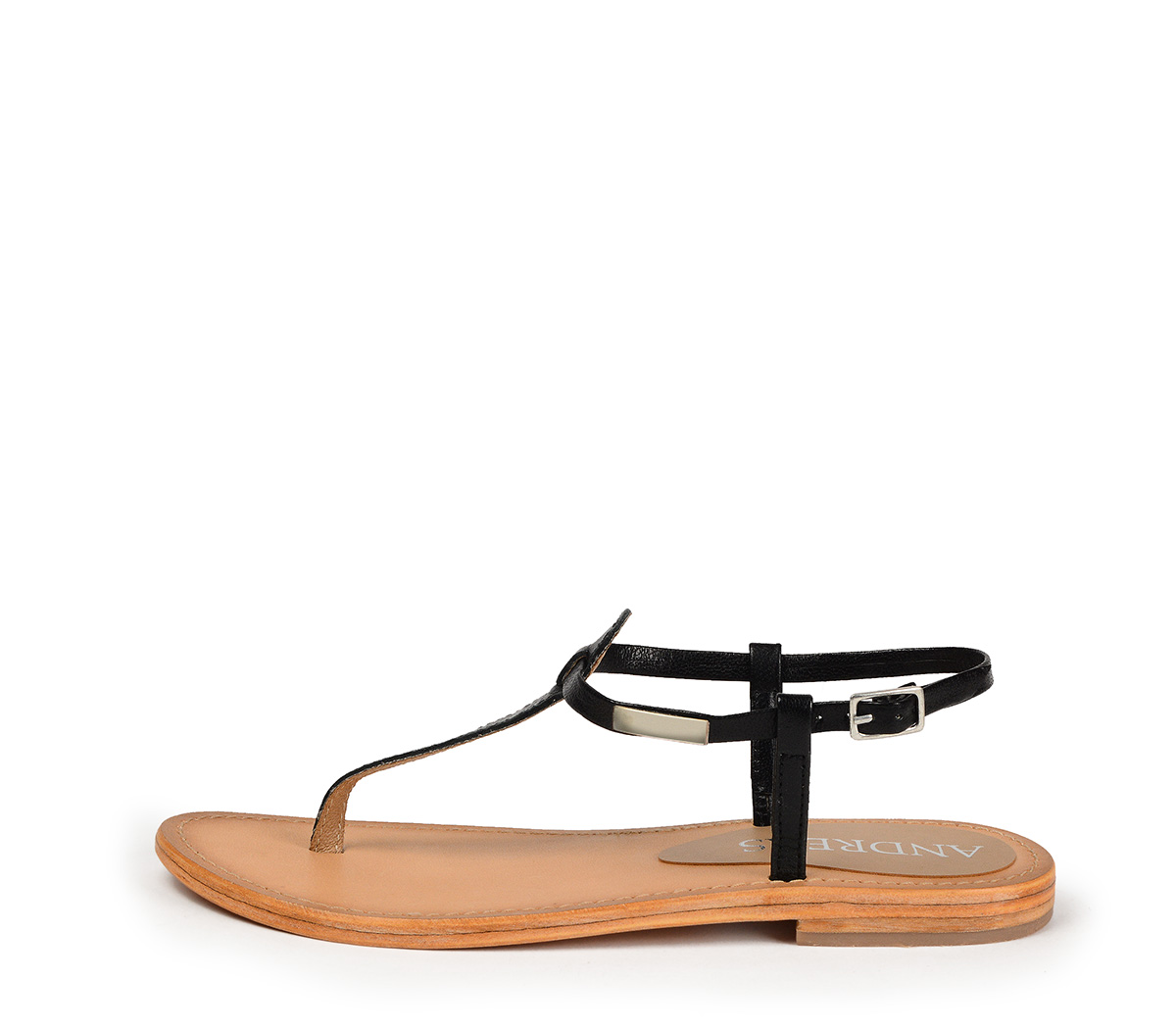 Ref. 4441 Sandalia piel negro con tira y pulsera al talón con hebilla plateada. Plantilla de piel.