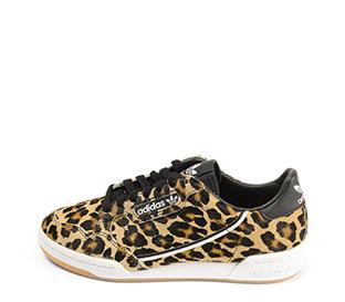 Ref. 4464 Adidas Continental potro leopardo con detalle trasero piel negra. Cordones negros. Suela combinada en blanco y caramelo. - Ítem1