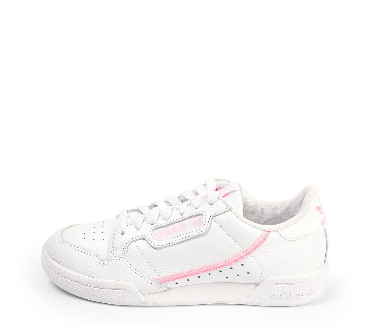 Ref. 4479 Adidas Continental piel blanca con detalles en rosa. Cordones blancos.