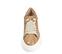 Ref. 4522 Sneaker piel con grabado coco en taupe. Cordones en beige. Plataforma blanca. Altura trasera 6 cm y delantera 4.5 cm. - Ítem2